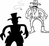 image of gunfights  - Black and White Cartoon Illustration of Two Gunmen or Cowboys Gunfight Duel - JPG