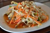 stock photo of green papaya salad  - green papaya and carrot spicy salad  - JPG