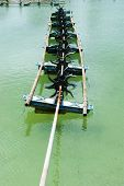 picture of aerator  - Aerator on the water in the shrimp farms - JPG