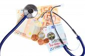 Cost Of Health Care: Stethoscope On Euro Money