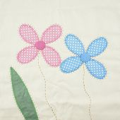 image of pillowcase  - Textile texture pink and blue floral with green leaf pattern from pillowcase - JPG