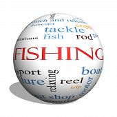 foto of fishing bobber  - Fishing 3D sphere Word Cloud Concept with great terms such as bobber lure pole and more - JPG