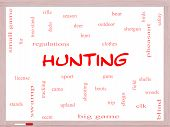 Hunting Word Cloud Concept On A Whiteboard