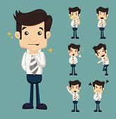 pic of emotions faces  - Set of businessman characters poses eps10 vector format - JPG