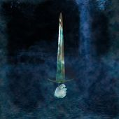 image of arthurian  - Male hand holding a Sword coming out of a foggy lake - JPG