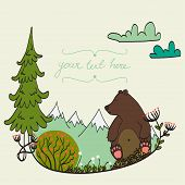 pic of cute bears  - Invitation or greeting card template with cute bear sitting in the middle of forest meadow with snowy mountains on the background - JPG