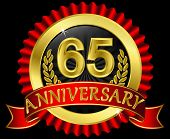 65 years anniversary golden label with ribbons, vector illustration