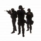 foto of anti-terrorism  - Silhouettes of special weapons and tactics  - JPG