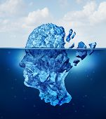 pic of neurology  - Brain trauma and aging or neurological damage concept as an iceberg floating in an ocean breaking apart as a health crisis metaphor for human mental stress and a symbol for psychology and psychiatric problems - JPG