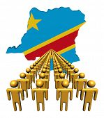 Lines of people with Democratic Republic of Congo map flag illustration