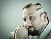 stock photo of hairline  - Man with funny silly half bald hair - JPG