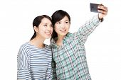 stock photo of selfie  - Two asia woman selfie - JPG