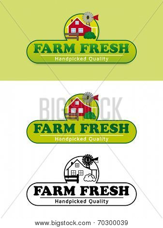 Farm Fresh Product Label with Farmhouse Vector Illustration. Shaded, flat design and black and white variations of food and packaging label