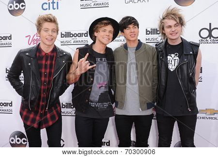 LAS VEGAS - MAY 18:  5 Seconds of Summer arrives to the Billboard Music Awards 2014  on May 18, 2014 in Las Vegas, NV.