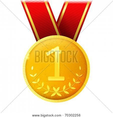 golden medal with red ribbon over white background