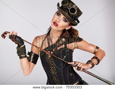 Steampunk woman golf player