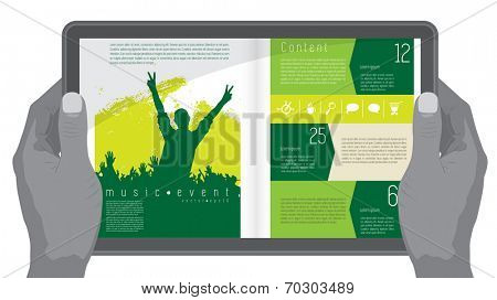 Music design layout for presentation or e-book
