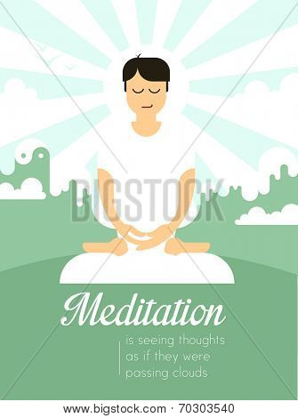 Contemporary illustration of a person sitting in meditation. Copyspace for your message.