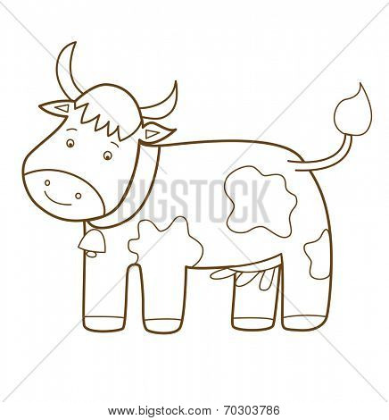 cow isolated on white (vector illustration)