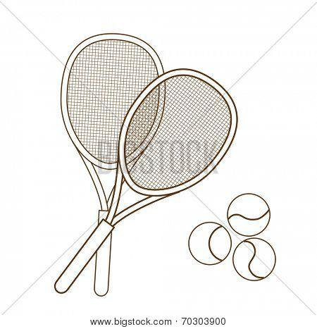tennis racket isolated on white background (vector illustration)