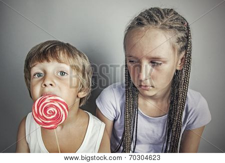 sister jealous brother who eats candy