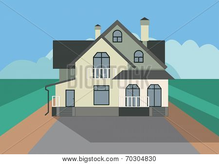 modern cottage (flat illustration)