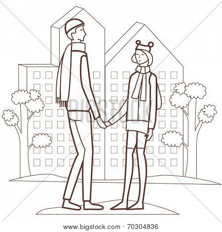 happy young couple in love (vector illustration)