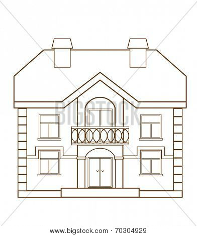 Flat house isolated on white background (vector illustration)