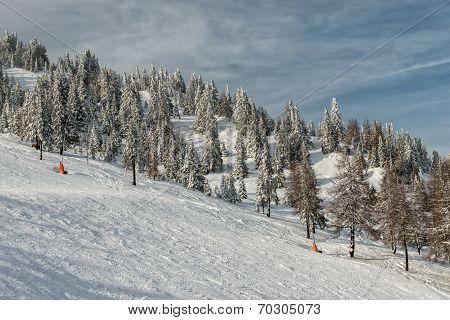 Ski Slope On Resort In Austrian Alps