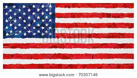 US national flag made from many pieces of torn paper