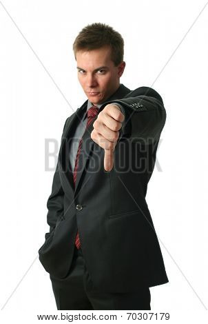 Young Businessmen making his thumb down isolated on white. Hand in focus.