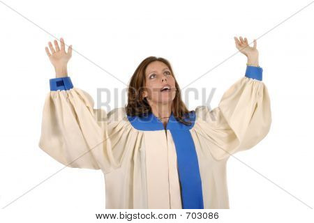 Woman In Choir Robe Praising God