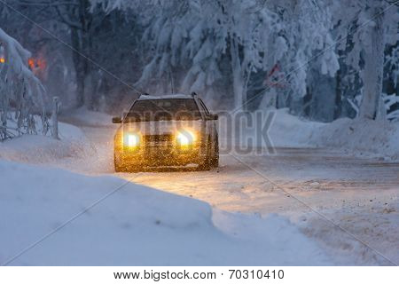 car in winter, Orlicke hory, Czech Republic