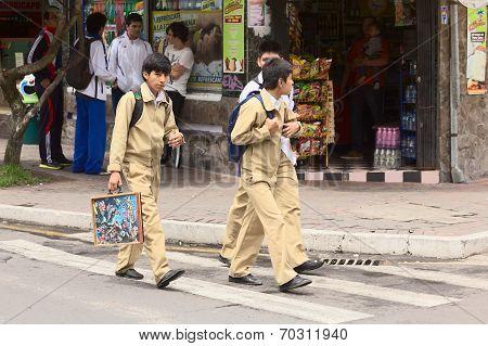 Schoolboys in Banos, Ecuador