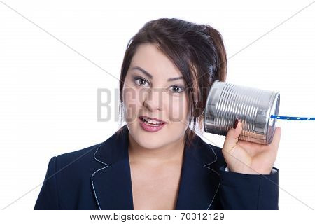 Stunned And Nosy Young Businesswoman Isolated Over White Holding A Tin Can For Concepts.