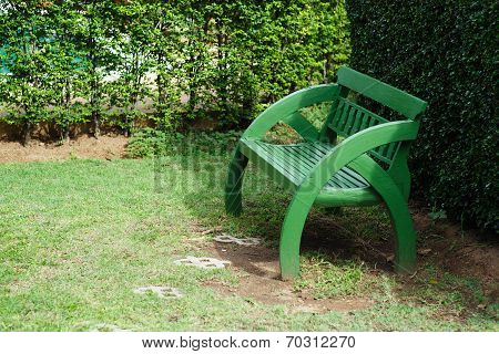 Wooden Green Original Chair In Garden