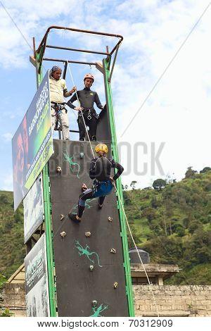 Climbing Wall in Banos, Ecuador