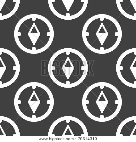 Compass web icon. flat design. Seamless gray pattern.