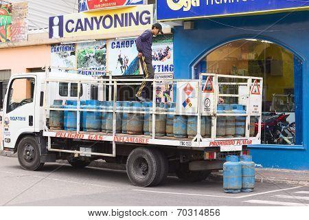 Gas Bottles on Truck in Banos, Ecuador