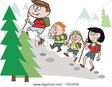 Family hiking cartoon