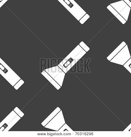 Flashlight web icon. flat design. Seamless gray pattern.