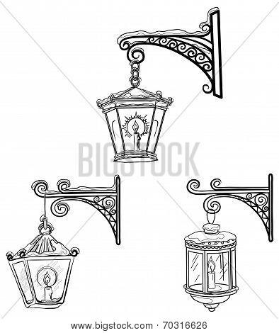 Vintage street lanterns, contours