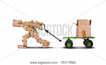 Boxman Pulling Box On Trolley