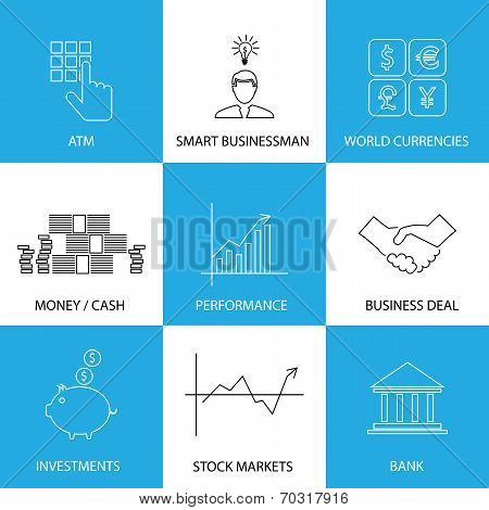 Flat Line Icons On Finance, Money, Currencies