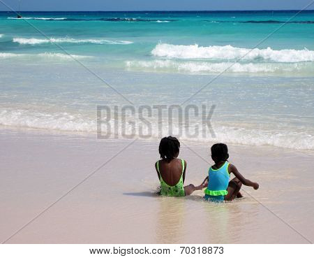 Two Girls on the Beach in Bridgetown, Barbados