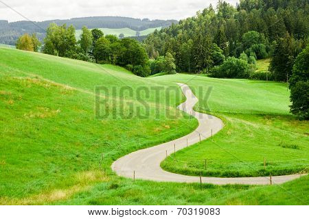 Winding Country Road Between Green Fields In The Mountains