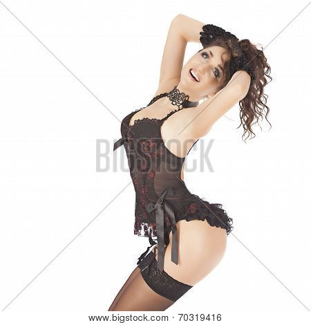 one sexy burlesque dancer woman stripper showgirl in studio