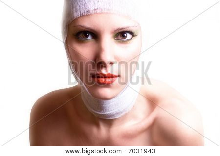 the woman after plastic operation