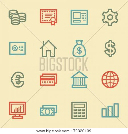 Money web icons, retro color