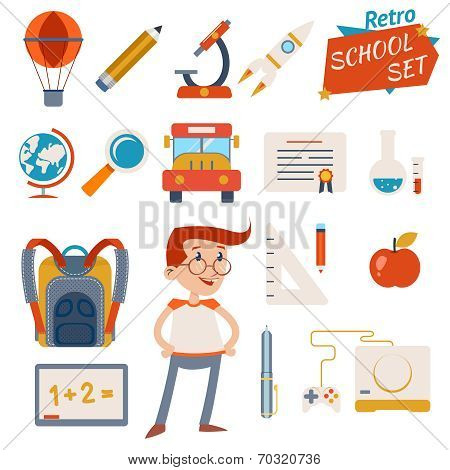 School Icon Set Graphic Designs on White